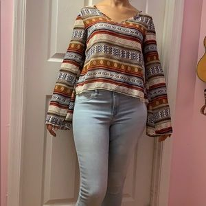 patterned bell sleeve blouse